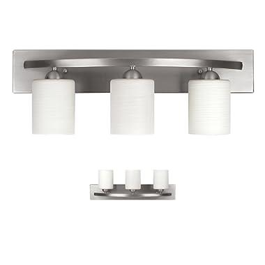 WholesalePlumbing IVL370A03BPT 3 Bulb Vanity Light Fixture Bath Interior Lighting, Brushed Nickel
