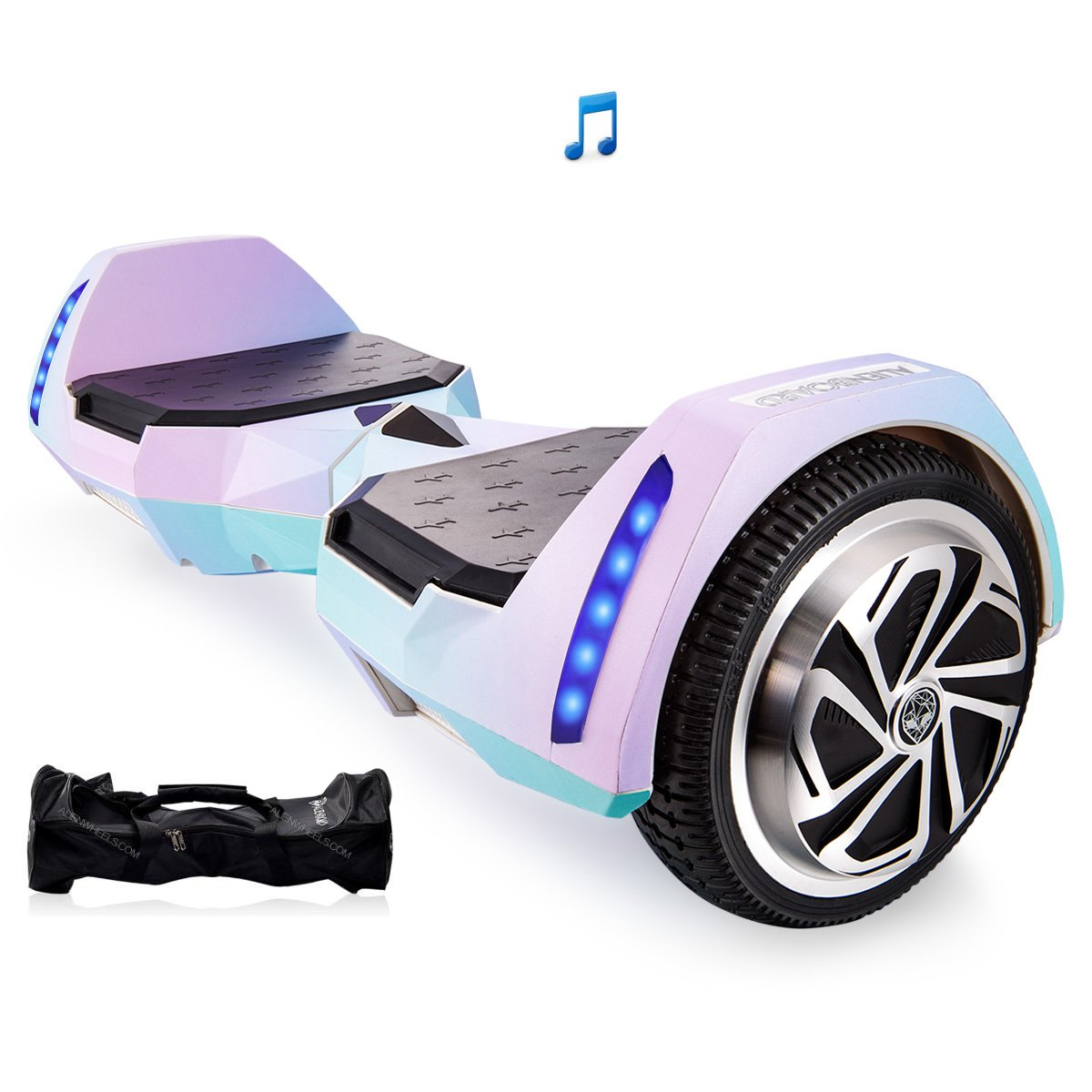 Mars One AlienBoard UL2272 Certified Hoverboard BatWings with Bluetooth and LED Lights (Cotton Candy) by Mars One