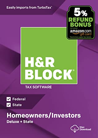 H&R Block Tax Software Deluxe + State 2018 with 5% Refund Bonus Offer  [Amazon Exclusive] [Mac Download]