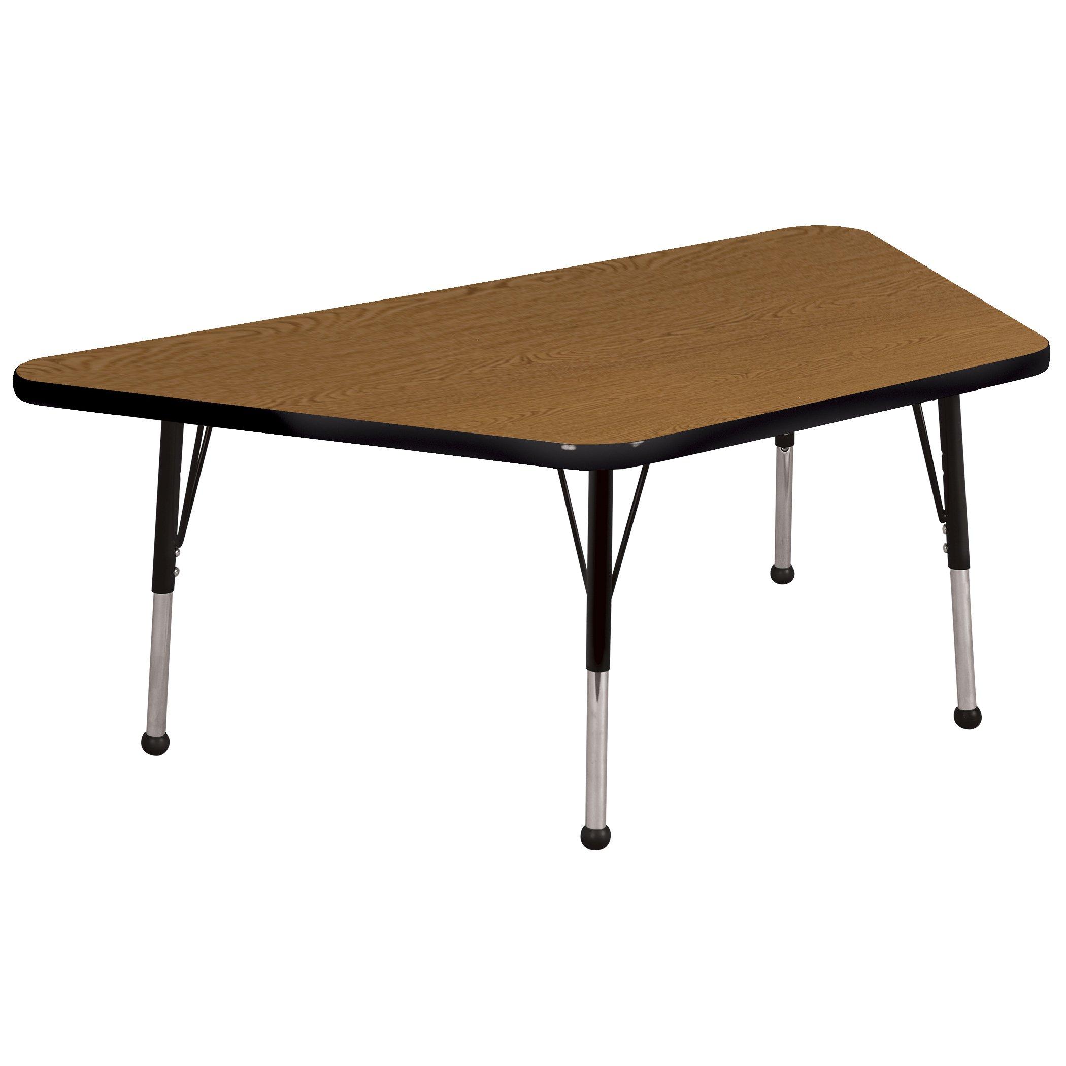 ECR4Kids Mesa Premium 30'' x 60'' Trapezoid School Activity Table, Toddler Legs w/Ball Glides, Adjustable Height 15-23 inch (Oak/Black) by ECR4Kids