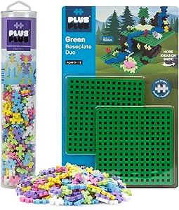 Plus-Plus - Baseplate Duo & 240 Piece Pastel Tube Set - Construction Building STEM Toy, Interlocking Mini Puzzle Blocks for Kids