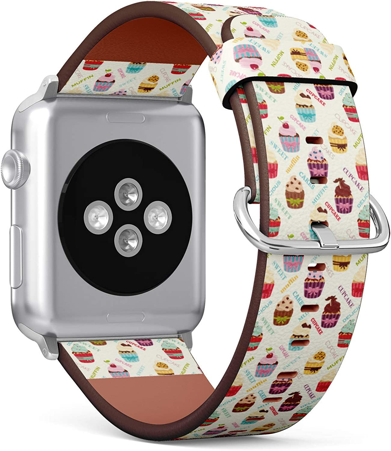 (Cute Pattern with Cupcakes) Patterned Leather Wristband Strap for Apple Watch Series 4/3/2/1 gen,Replacement for iWatch 42mm / 44mm Bands