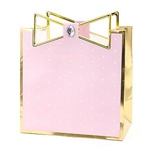 Hallmark Signature Medium Gift Bag (Pink with Gold Border)