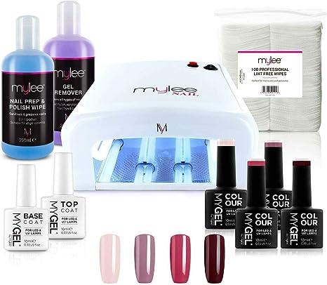 Nail Gel Polish Kit 4 Mygel Colours Top Base Coat Uv Lamp Starter Kit Mylee Prep Wipe Remover