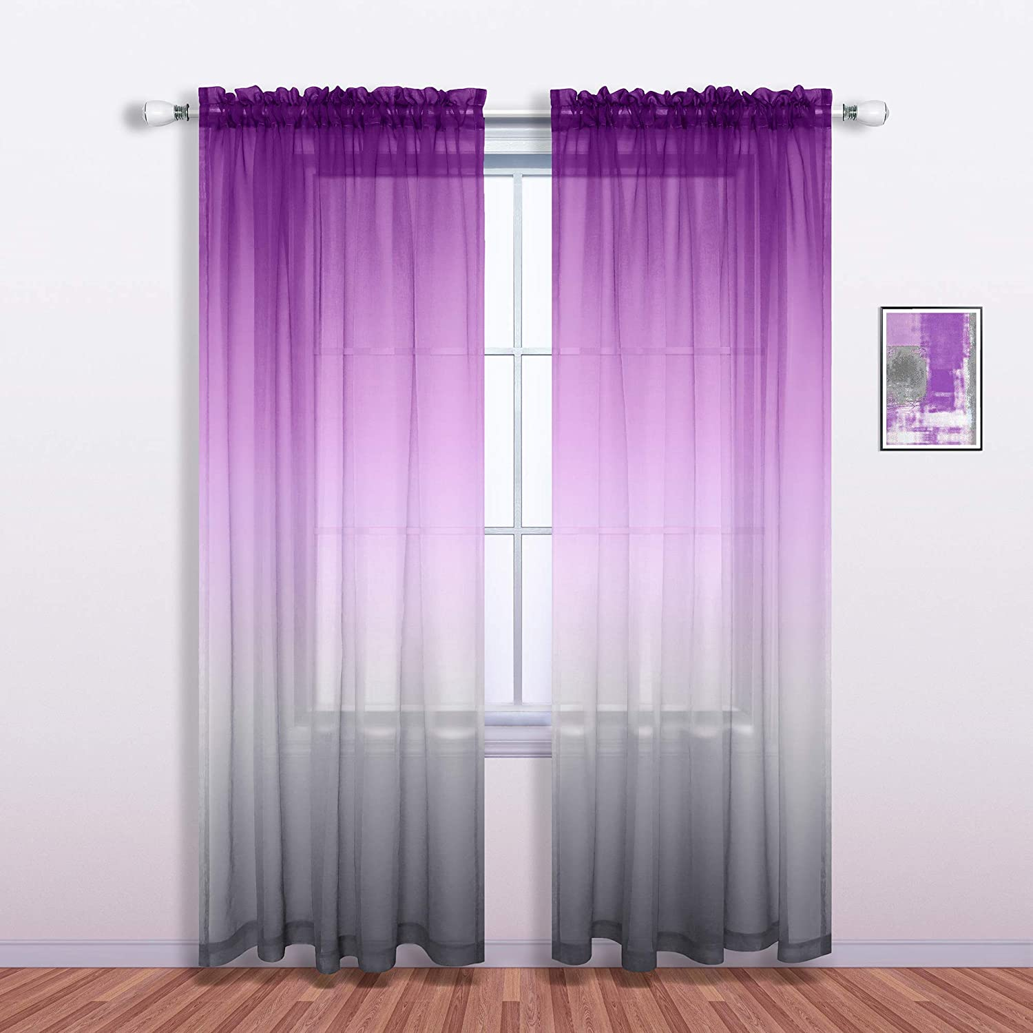 Purple and Grey Curtains for Living Room Decor Set of 1 Single Sheer Window Panel Pocket Ombre Luxury Curtains for Bedroom Kids Girls Women Decorations 52 x 96 Inch Length Royal Lilac and Gray