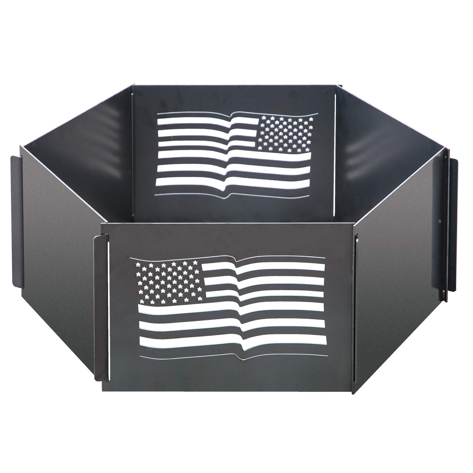 Behlen Country 90110100 American Flag Collapsible Fire Ring with Carry Bag, 30'' Diameter x 11'' H, Black by Behlen Country