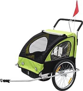 HOMCOM Remolque para Niños DOS PLAZAS con Amortiguadores Carro para Bicicleta CON BARRA INCLUIDA y Kit de Footing COLOR VERDE y NEGRO
