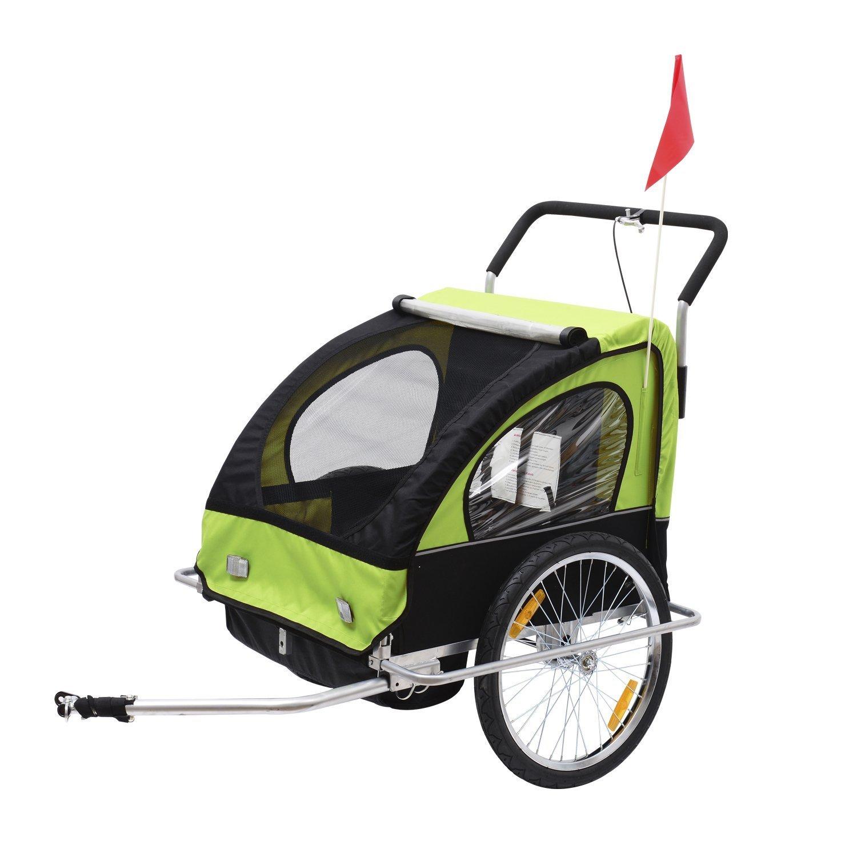 HOMCOM Remolque para Niños DOS PLAZAS con Amortiguadores Carro para Bicicleta CON BARRA INCLUIDA y Kit
