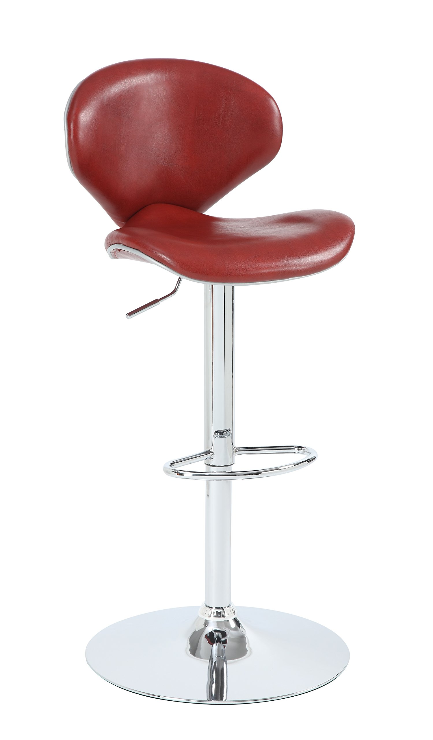 Stylistics Graham Adjustable Barstool, 20'' x 20'' x 36'', Deep Red