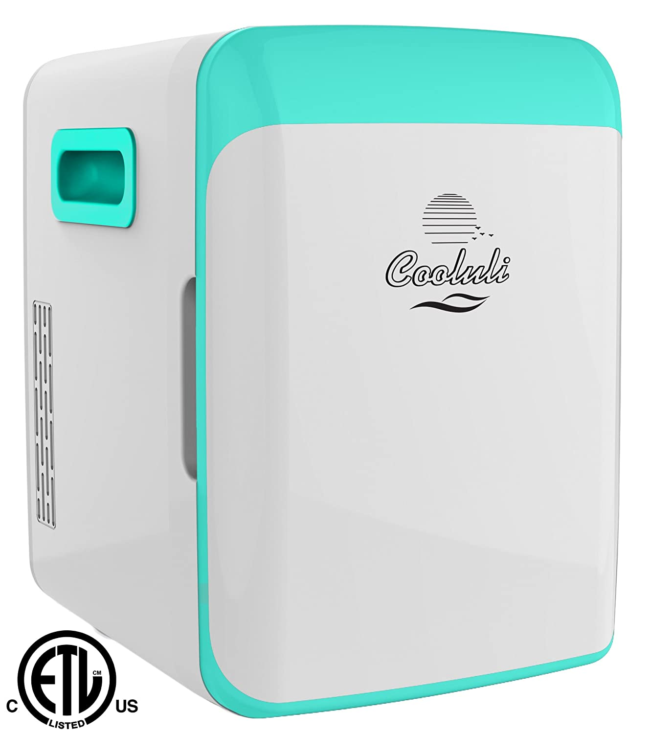 Cooluli CMF15LT Mini Fridge Electric Cooler and Warmer AC/DC Portable Thermoelectric System, Compact Refrigerator, 15 Liter/18 Can, Turquoise