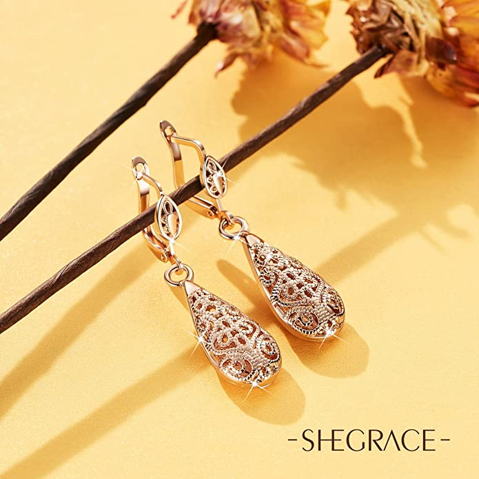 SHEGRACE 18K Gold Plated Lever Back Earrings Pendant with Hollow Decorative Pattern Drop Rose Gold 40mm for Girls l0qo5F9NHT