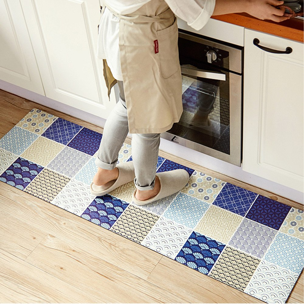 Navy 17.7'' X 31.5'' Ustide Accent Kitchen Rug with Latex Backing,17.7 x70.9  Creative Food