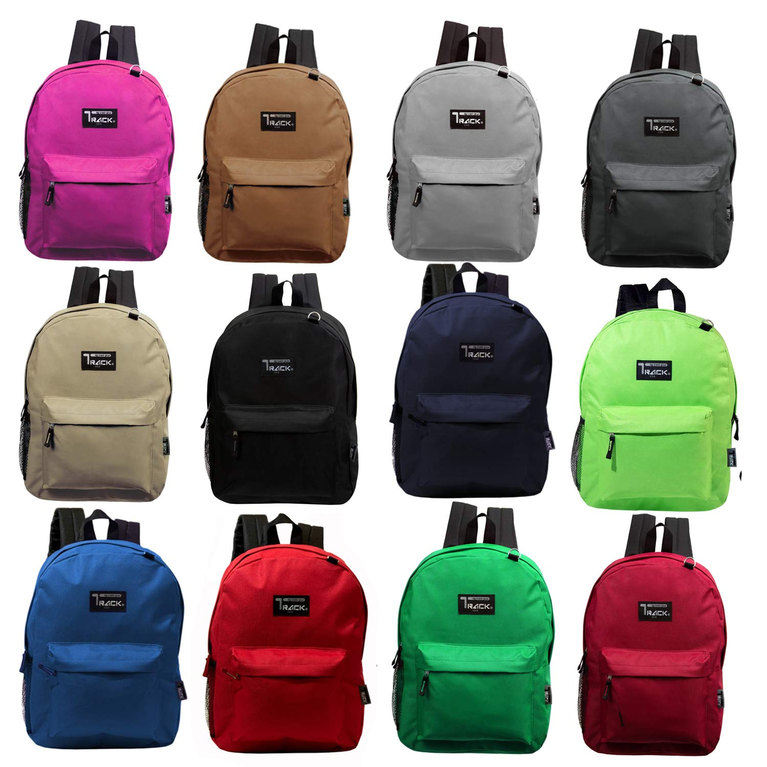 17'' Classic Wholesale Premium Backpacks - Bulk Case of 24 Bookbags (8 to 12 Assorted Colors) by Track