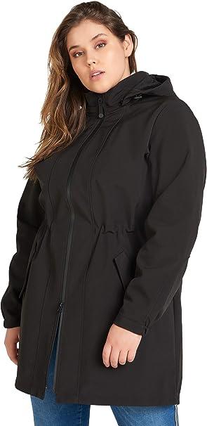 Zizzi Damen Große Größen Softshell Jacke mit Kapuze und Reißverschluss Gr 42 56