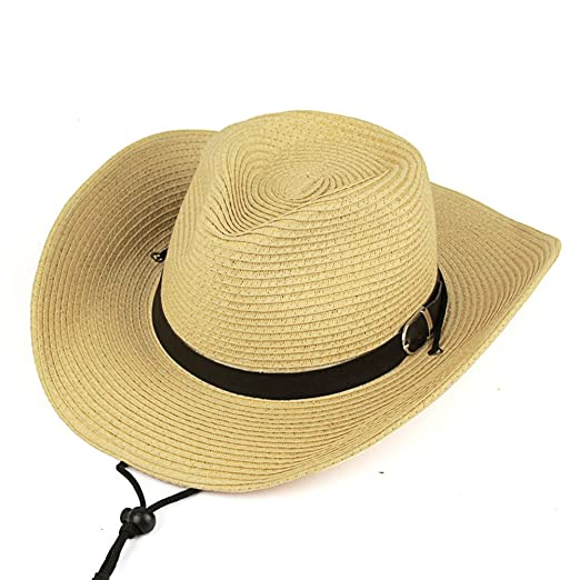 iShine Straw Wide Brim Stetson Cowboy Hat Unisex Fancy Dress with Leather  Band Detail Beige f80021f50919
