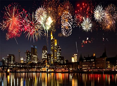leowefowa vinyl 10x8ft happy new year backdrop fancy fireworks skycraper new york city night view river