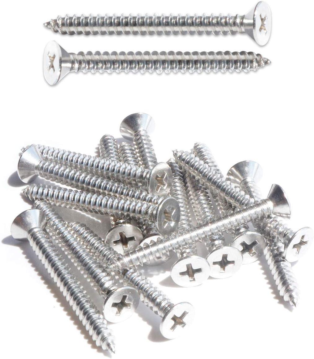 304 Stainless Steel 18-8 #8 x 3//4 Flat Head Sheet Metal Screws Phillips Drive Wood Screws Self Tapping Pack of 100