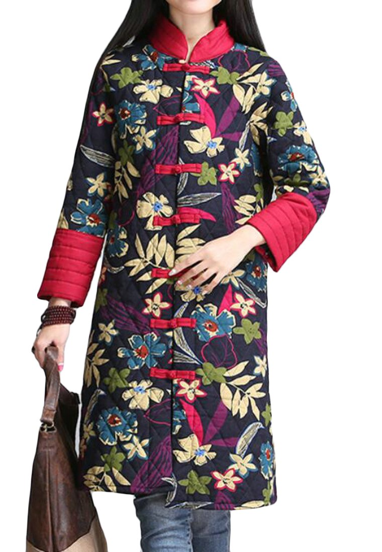 UUYUK-Women Stand Collar Print Chinese Style Wadded Jacket Coat Overcoat Two US M