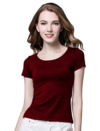 79cf17cf46 Alizeal Women Short Sleeve Solid T-shirt with Built-in Shelf Bra for Yoga  and Dailywear