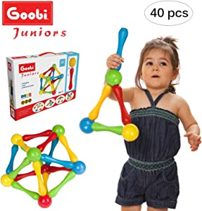 Goobi Juniors 40 Piece Construction Set Large Building Blocks Developmental Play Sticks STEM Learning Vibrant Colors Creativity Imagination 3D Puzzle Educational Toys for 1 Year Old Toddlers Preschool