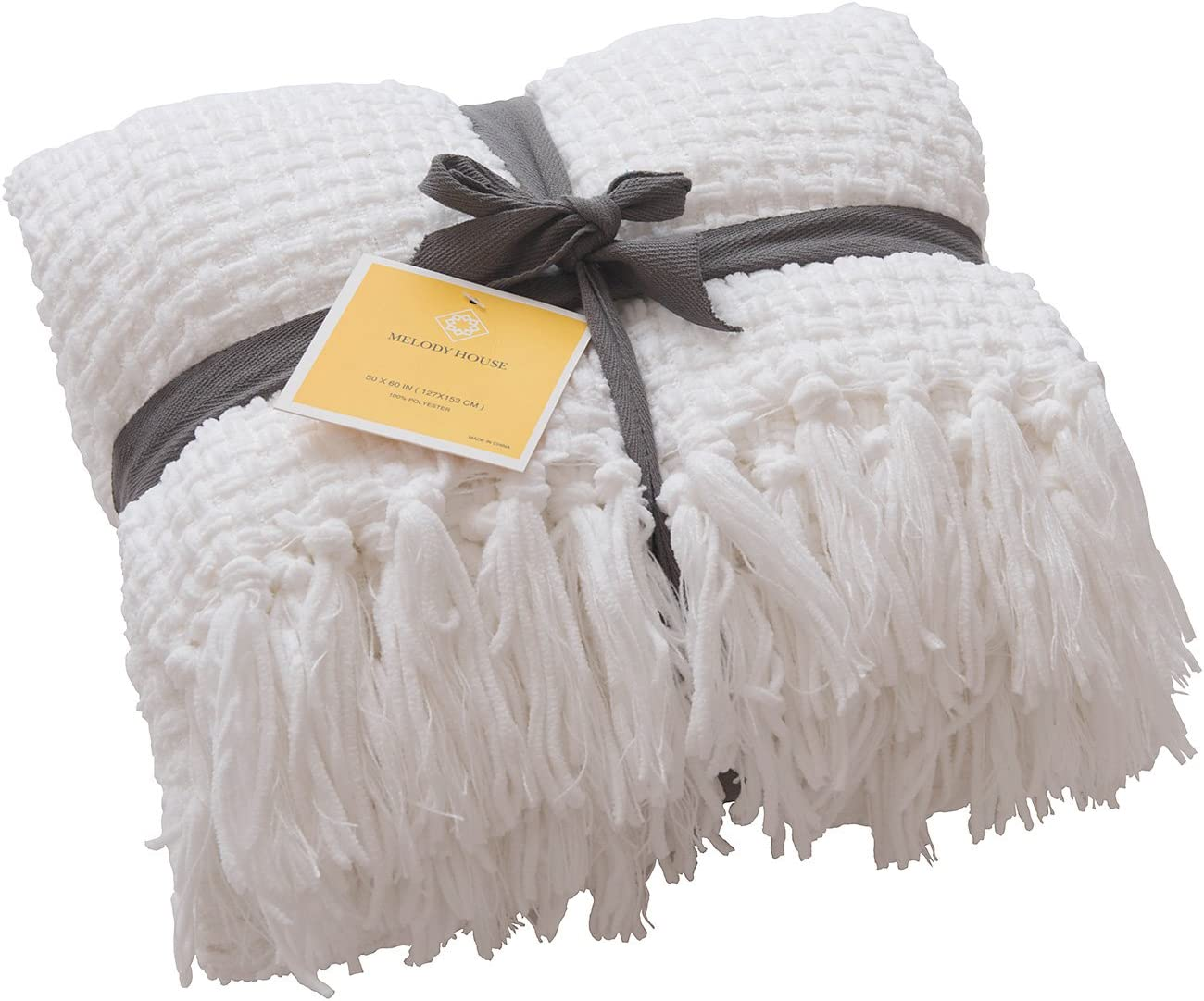 Melody House Super Soft Woven Plaid Pattern Throw, Decorative Throw Blanket with Tassels, 50x60, Bright White