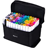 chfine Art Marker Set - 80 Colors Dual Tip Permanent Sketch Markers - Ideal for Artists Adults Kids Drawing Coloring Crafts G