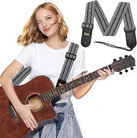 Correa para guitarra, correa para guitarra acústica, correa para bajo, correa para guitarra eléctrica, correas para el hombro delgadas y cómodas con extremos de piel: Amazon.es: Instrumentos musicales