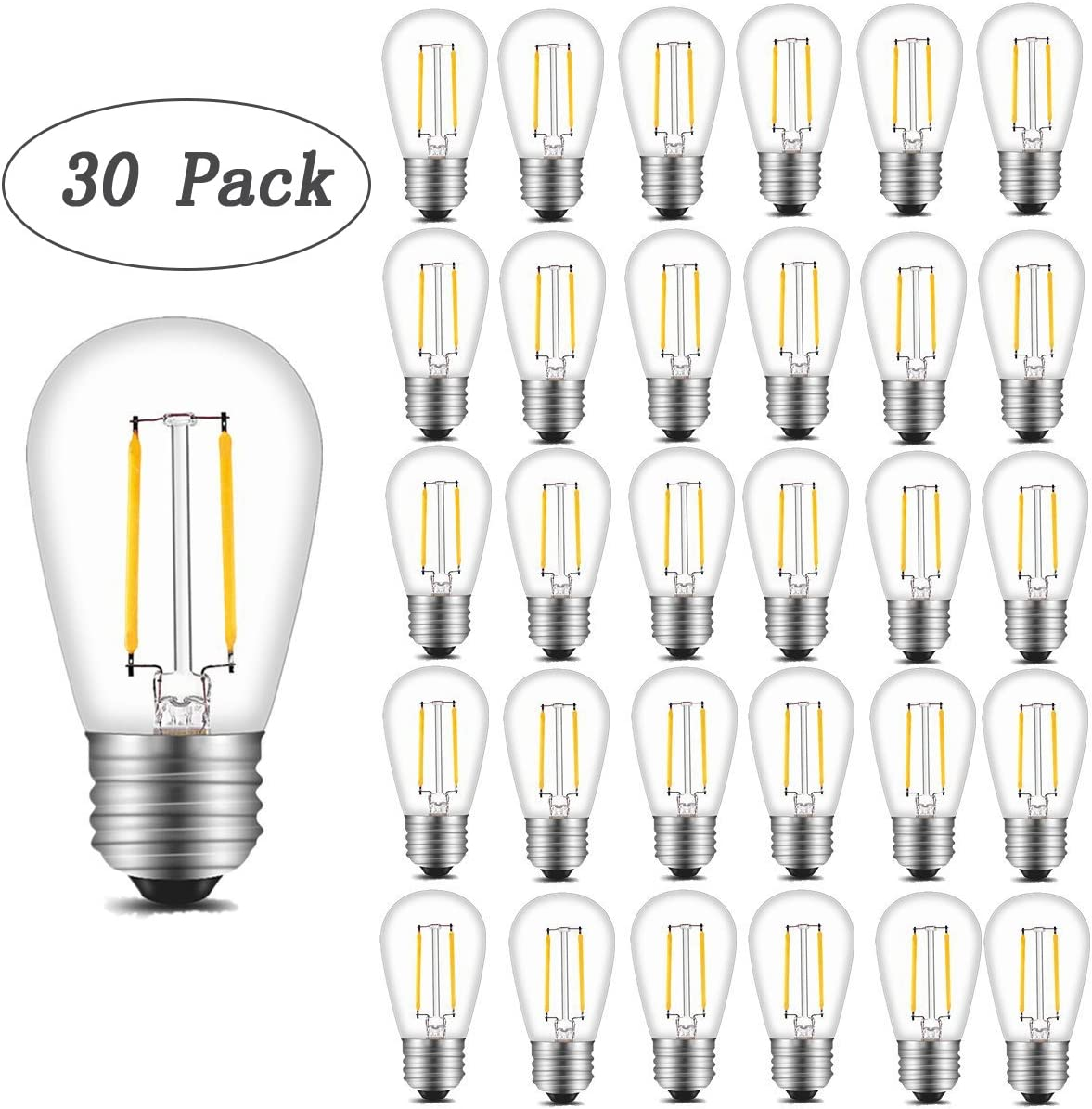 INNOCCY Vintage S14 LED Light Bulbs, 2W 200 Lumens 2700K Warm White Waterproof Dimmable Bulb Great for Outdoor String Lights, 30 Pack