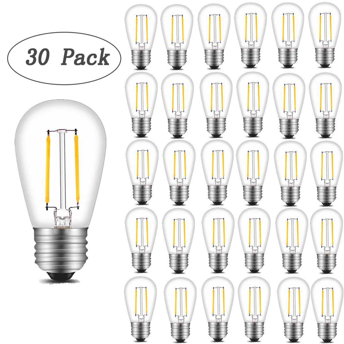 INNOCCY Vintage S14 LED Light Bulbs, 2W 200 Lumens 2700K SoftWarm Waterproof Bulb Great for Outdoor String Lights, 30 Pack