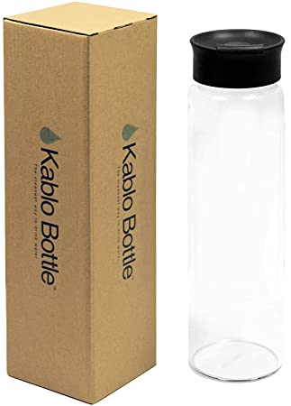 Kablo cristal botella de agua 32 Oz con tapa Cap, 100% borosilicato