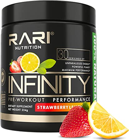 RARI Nutrition - Infinity Pre Workout Powder - Natural Preworkout Energy Supplement for Men and Women - Keto and Vegan Friendly - No Creatine - 30 Servings - (Strawberry Lemonade)