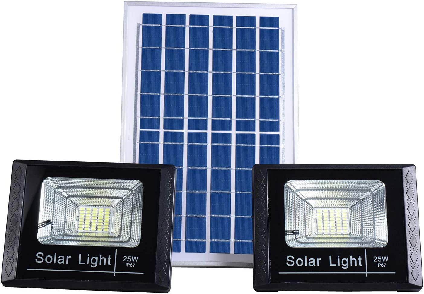 Solar Flood Security Lights Outdoor Dusk to Dawn with 13.7 x 9.4 Panels IP67 Waterproof Remote Control Dual 40 LEDs White Light Source Adjustable Brightness for Yard,Driveway,Porch,Garage,Barn