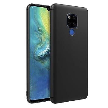 EasyAcc Huawei Mate 20 X Funda, Funda Suave TPU Case Protectora Trasera Mate Delgada Carcasa - Negro