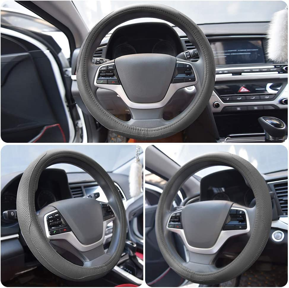 Universal 15 inch Breathable Anti Slip Auto Steering Wheel Covers Grey Ylife Microfiber Leather Car Steering Wheel Cover