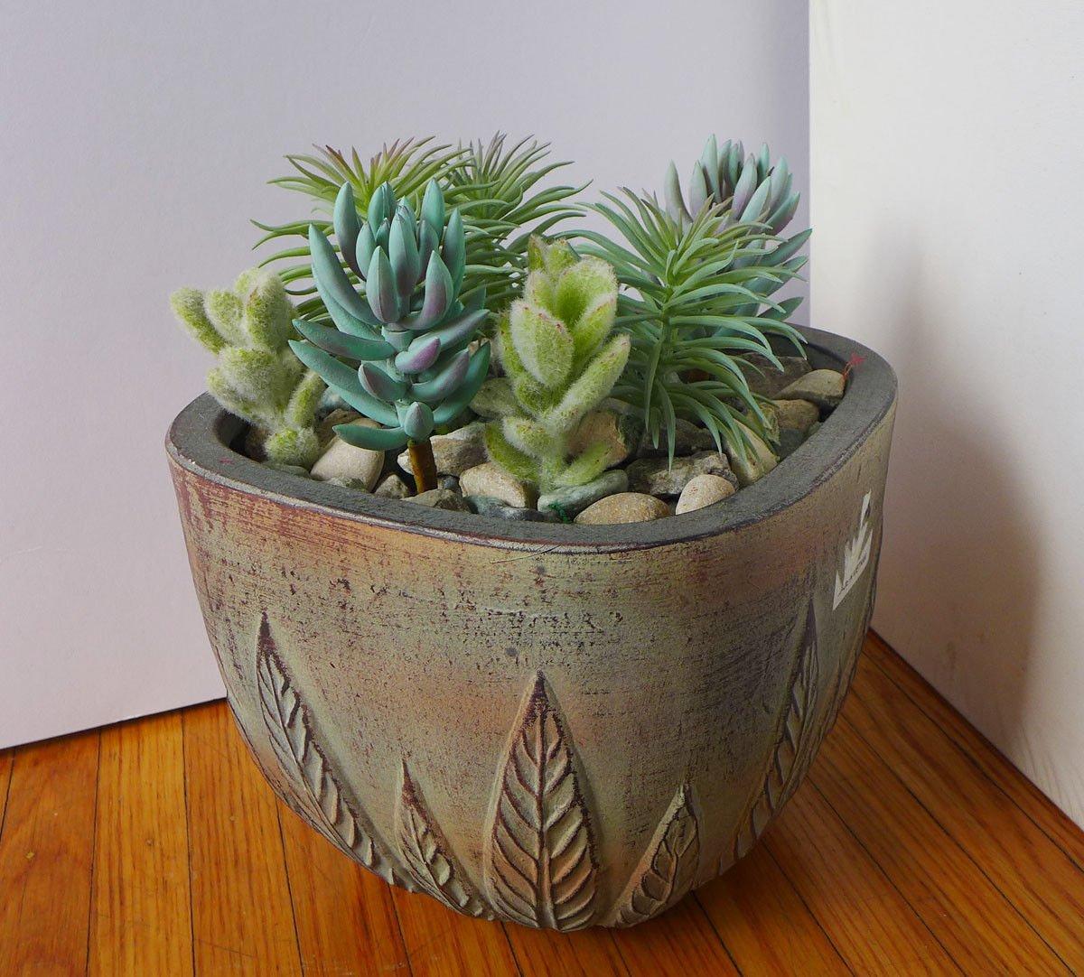 Set of 8 Mini Artificial Plants Grass Yacon Flowering Cactus Succulents