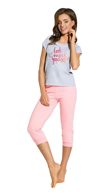 TARO Damen Kurzarm Schlafanzug mit Caprihose Baumwoll-Pyjama Sommer softweich Größe S M L XL