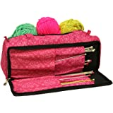 Knitting Bag, Sewing Accessories and Craft Needle Storage Organiser Case In Imperial Pink by Roo Beauty