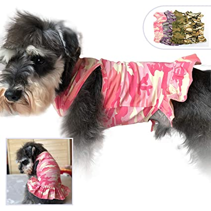 1410ea96a8be lovelonglong Pet Clothing Small Dog Clothes Camouflage Sport Dress T-Shirts  Tee Dresses Tanks Top for Small Size Female Dogs Summer Spring Pet Costumes  100% ...