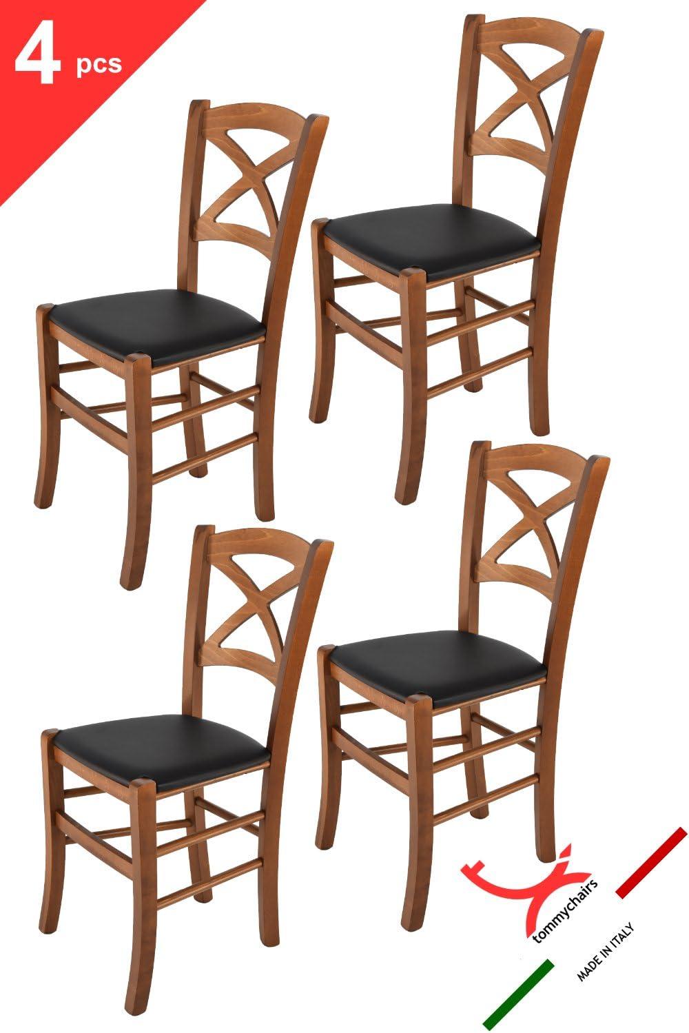Tommychairs Chaise du Design avec Structure en Bois Coleur Noix et Une Assise en Cuir Artificiel Coleur Noir Bar et la Salle /à Manger Set de 4 chaises Cross pour la Cuisine