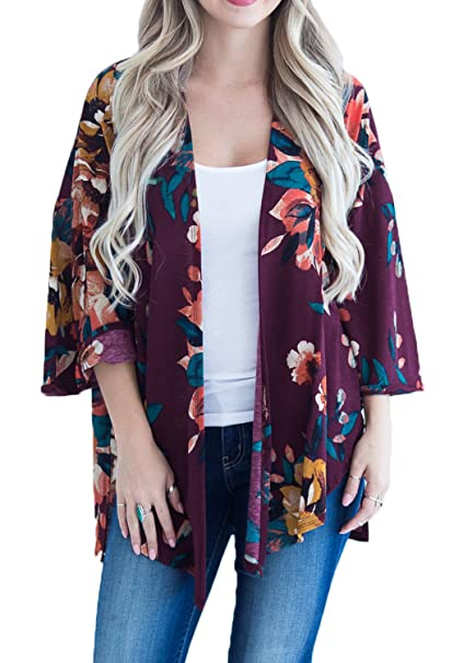 50f6945e4bf603 Women's Floral Kimono Cardigan Casual Loose Boho Beach Cover Up Blouses Top  (S, Purple
