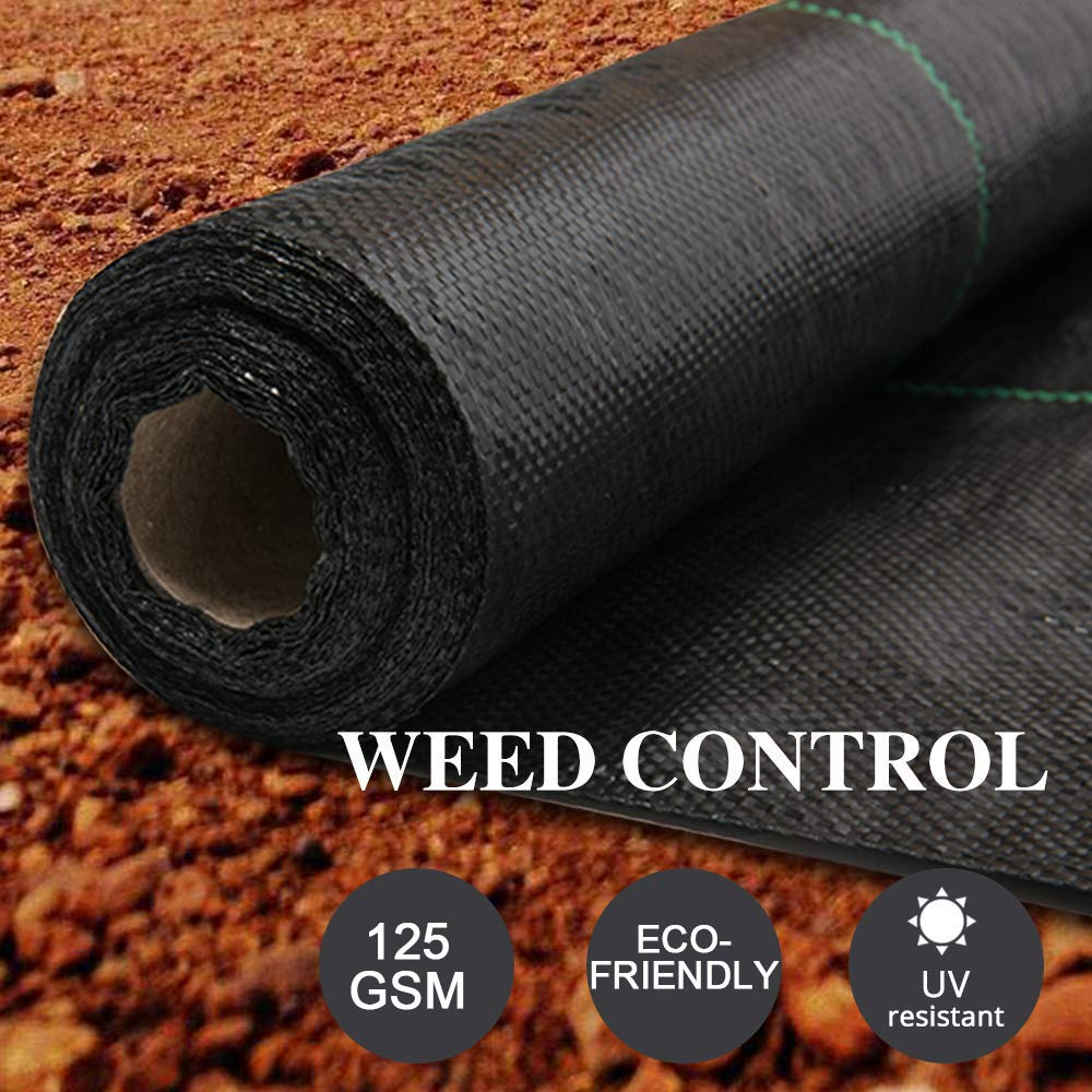 LITA 10M x 1M Wide Weed Barrier Control Fabric Ground Cover Membrane Garden Landscape Driveway Weed Block Nonwoven Heavy Duty 125gsm Black, 10 Pack