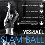 Yes4ll 25 lbs Slam Ball, Medicine Ball for Strength and Crossfit Workout - Fitness Exercise Ball with Grip Tread & Durable Rubber Shell
