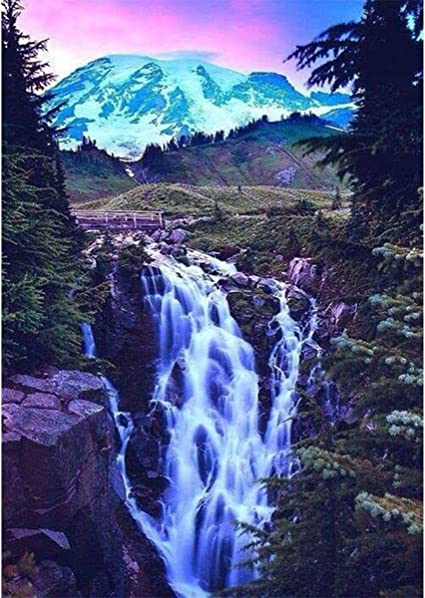 Amazon Com Diy Diamond Painting For Adult Full Square Drill Paint With Diamonds Kits 5d Diamond Art For Wall Decor Waterfall 11 8x15 7inch