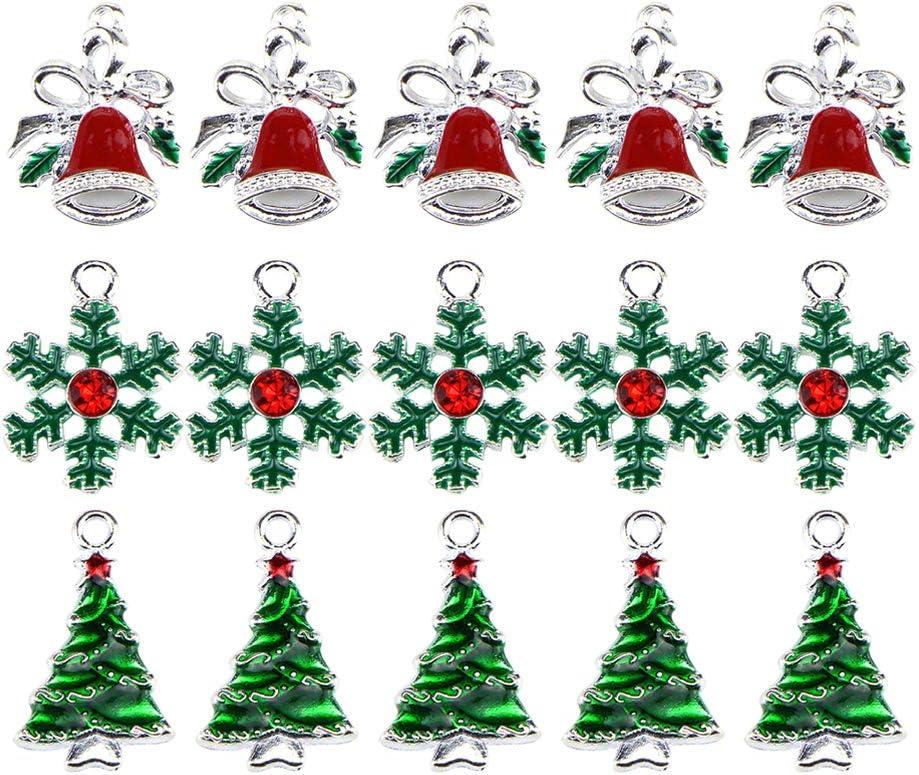 HEALLILY 20pcs Breloques de no/ël Arbre de m/étal Cloche Ornement Collier Boucle doreille Bricolage Fabrication de Bijoux approvisionnement pour Cadeaux de f/ête de no/ël