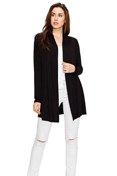 EttelLut Long Open Front Lightweight Soft Knit L Sleeve Light Cardigans for  Women Black Black 3fe22fc4f
