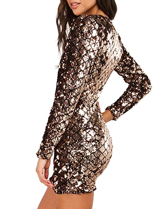 Amazon.com: ASMAX Haoduoyi Womens Sexy V-Neck Bodycon Sequin Dress: Clothing