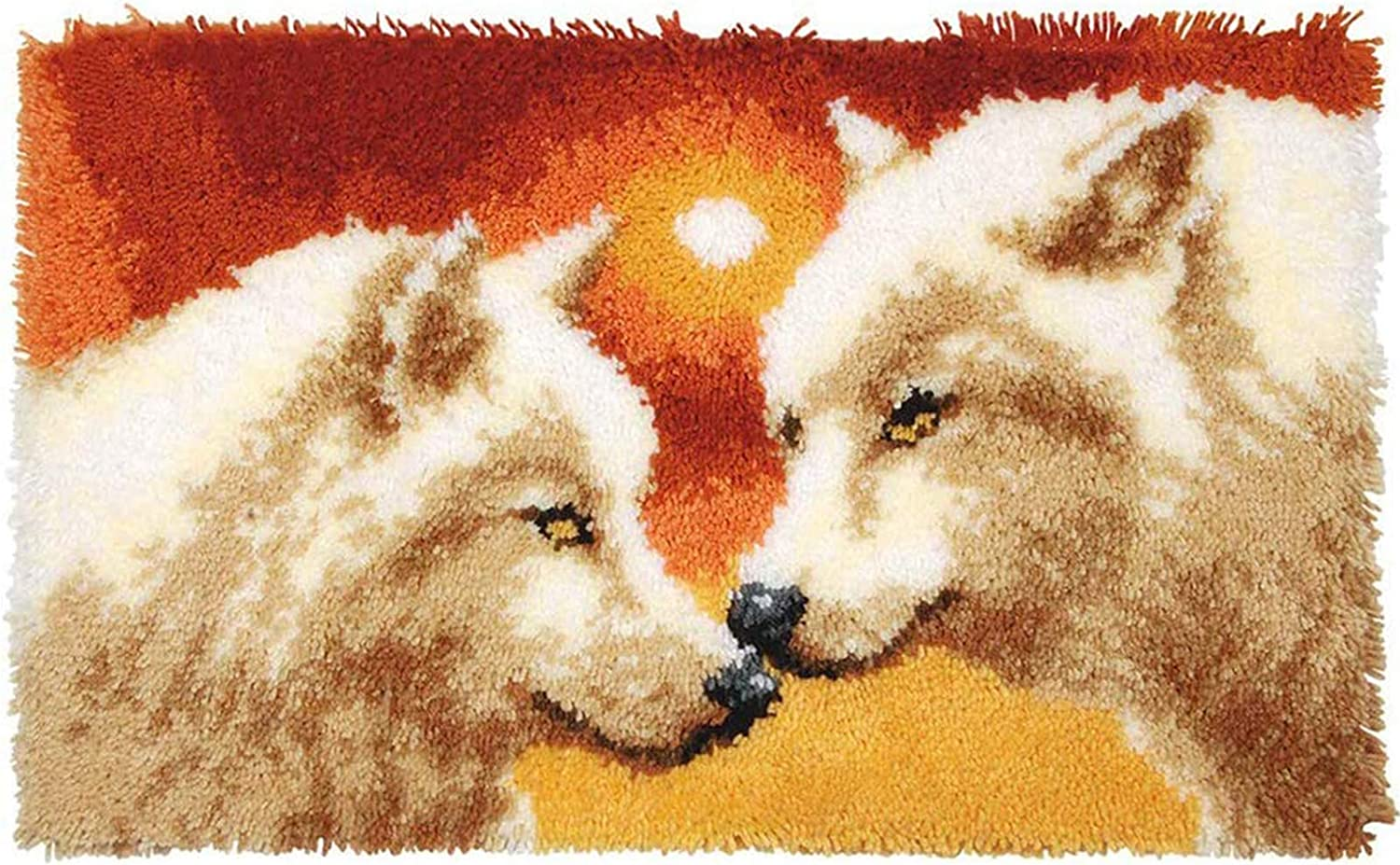 Wolf DIY Latch Hook Kit Rug Making Crafts for Adults Kids Beginners Carpet Embroidery Kit Tapestry Kits Handmade Home Decoration Mats Creative Gift 52Cmx38cm