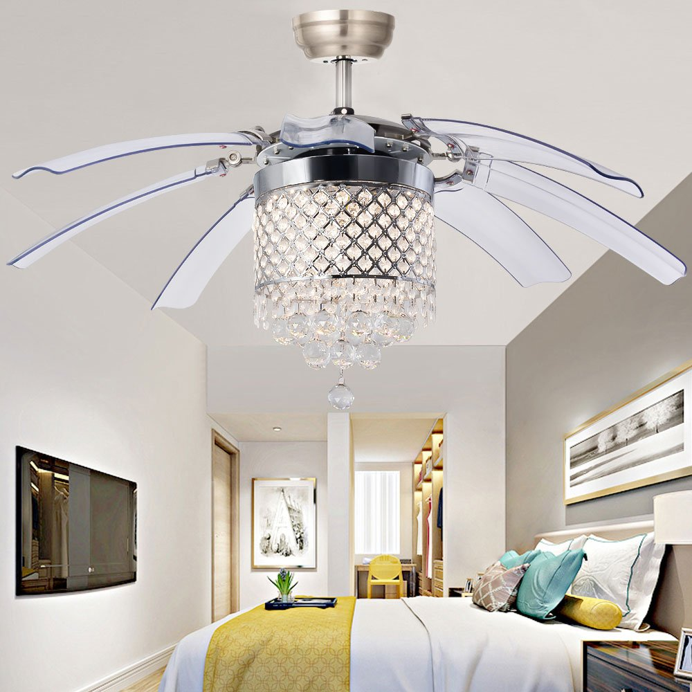 Luxurefan Modern Crystal Ceiling Fan Lamp for Living Room Restaurant with 8 Foldable Transparent Acrylic Leaves with Invisible Take-Off Remote Chandeliers of Sand Nickel 42 Inch by Luxure Fan (Image #4)