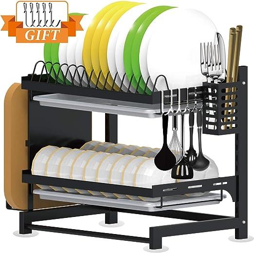 Amazon Com Tsmine Dish Drying Rack With Drain Board 2 Tier Dish