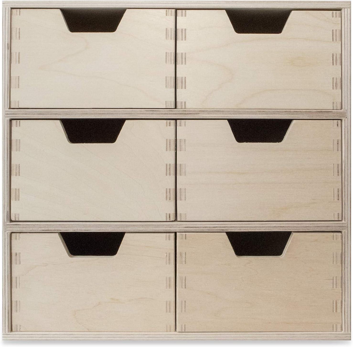 Creative Deco Schubladen-Box aus Birken-Sperrholz Perfektes Ordnungssystem f/ür Lagerung 6 Schubladen 28,5 x 20 x 28,5 cm Decoupage /& Dekoration Mini-Kommode f/ür Kleinigkeiten